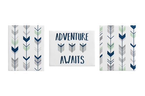 Grey, Navy Blue and Mint Woodland Arrow Wall Art Room Decor Hangings for Baby, Nursery, Kids and Childrens Woodsy Collection by Sweet Jojo Designs - Set of 3 - Click to enlarge