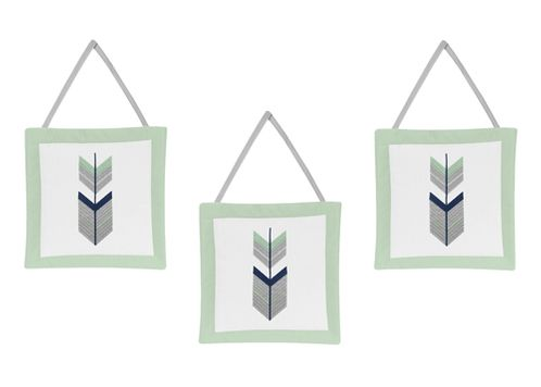Grey, Navy Blue and Mint Woodland Arrow Wall Hanging Accessories by Sweet Jojo Designs - Click to enlarge