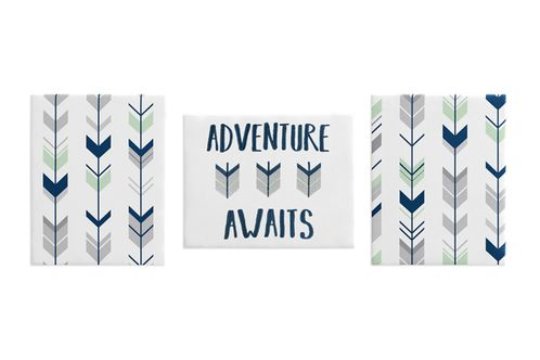 Grey, Navy Blue and Mint Woodland Wall Art Room Decor Hangings for Baby, Nursery, Kids and Childrens Mod Arrow Collection by Sweet Jojo Designs - Set of 3 - Click to enlarge
