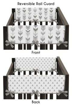 Grey Side Crib Rail Guards Baby Teething Cover Protector Wrap for Woodland Arrow Collection by Sweet Jojo Designs - Set of 2