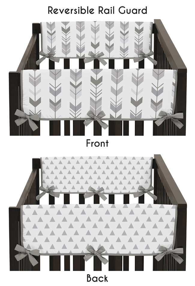Grey Long Front Crib Rail Guard Baby Teething Cover Protector for Woodland Arrow Collection by Sweet Jojo Designs