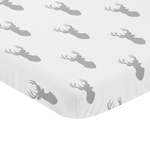 Grey Stag Baby Fitted Mini Portable Crib Sheet for Woodland Deer Collection by Sweet Jojo Designs