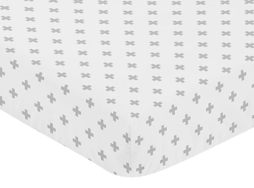 Grey Swiss Cross Baby or Toddler Fitted Crib Sheet for Woodland Fox Collection by Sweet Jojo Designs - Click to enlarge