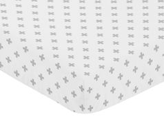 Grey Swiss Cross Baby or Toddler Fitted Crib Sheet for Woodland Fox Collection by Sweet Jojo Designs