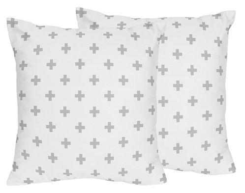 Grey Swiss Cross Decorative Accent Throw Pillows for Woodland Fox Collection by Sweet Jojo Designs - Set of 2 - Click to enlarge