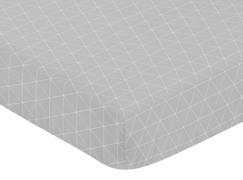 Grey Triangle Baby or Toddler Fitted Crib Sheet for Woodland Fox Collection by Sweet Jojo Designs - Click to enlarge