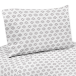 Grey Tribal Geometric Print 4 pc Queen Sheet Set for Feather Bedding Collection by Sweet Jojo Designs