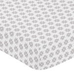 Grey Tribal Geometric Print Fitted Crib Sheet for Feather Collection Baby/Toddler Bedding by Sweet Jojo Designs