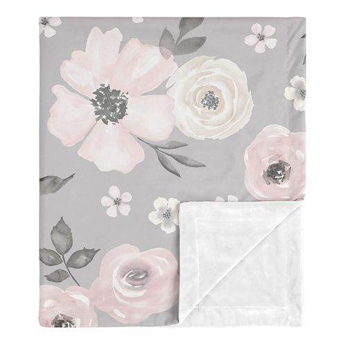 Grey Watercolor Floral Baby Girl Blanket Receiving Security Swaddle for Newborn or Toddler Nursery Car Seat Stroller Soft Minky by Sweet Jojo Designs - Blush Pink Gray and White Shabby Chic Rose Flower Farmhouse - Click to enlarge
