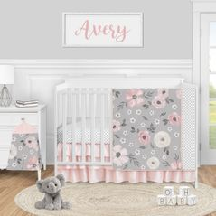 Grey Watercolor Floral Baby Girl Nursery Crib Bedding Set by Sweet Jojo Designs - 4 pieces - Blush Pink Gray and White Shabby Chic Rose Flower Polka Dot Farmhouse