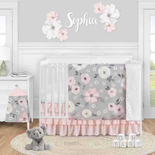 Grey Watercolor Floral Baby Girl Nursery Crib Bedding Set by Sweet Jojo Designs - 4 pieces - Blush Pink Gray and White Shabby Chic Rose Flower Polka Dot Farmhouse - Click to enlarge