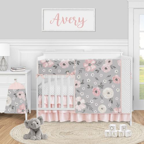 Grey Watercolor Floral Baby Girl Nursery Crib Bedding Set by Sweet Jojo Designs - 5 pieces - Blush Pink Gray and White Shabby Chic Rose Flower Polka Dot Farmhouse - Click to enlarge