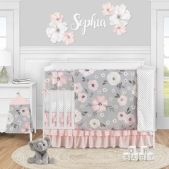Grey Watercolor Floral Baby Girl Nursery Crib Bedding Set by Sweet Jojo Designs - 5 pieces - Blush Pink Gray and White Shabby Chic Rose Flower Polka Dot Farmhouse
