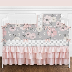Grey Watercolor Floral Baby Girl Nursery Crib Bedding Set with Bumper by Sweet Jojo Designs - 9 pieces - Blush Pink, Gray and White Shabby Chic Rose Flower Polka Dot