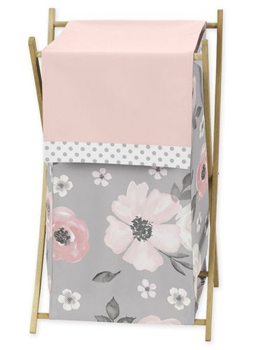 Grey Watercolor Floral Baby Kid Clothes Laundry Hamper by Sweet Jojo Designs - Blush Pink Gray and White Shabby Chic Rose Flower Polka Dot Farmhouse - Click to enlarge