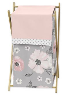 Grey Watercolor Floral Baby Kid Clothes Laundry Hamper by Sweet Jojo Designs - Blush Pink Gray and White Shabby Chic Rose Flower Polka Dot Farmhouse