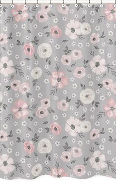 Grey Watercolor Floral Bathroom Fabric Bath Shower Curtain by Sweet Jojo Designs - Blush Pink Gray and White Shabby Chic Rose Flower Farmhouse