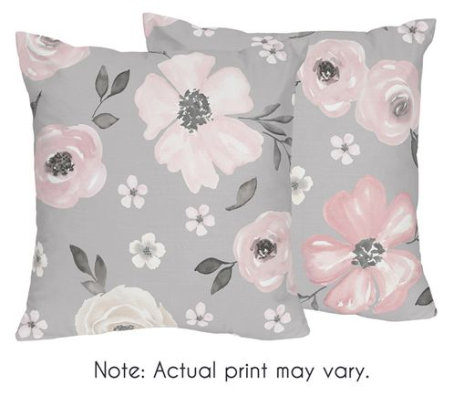 Grey Watercolor Floral Decorative Accent Throw Pillows by Sweet Jojo Designs - Set of 2 - Blush Pink Gray and White Shabby Chic Rose Flower Farmhouse - Click to enlarge