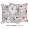 Grey Watercolor Floral Decorative Accent Throw Pillows by Sweet Jojo Designs - Set of 2 - Blush Pink Gray and White Shabby Chic Rose Flower Farmhouse