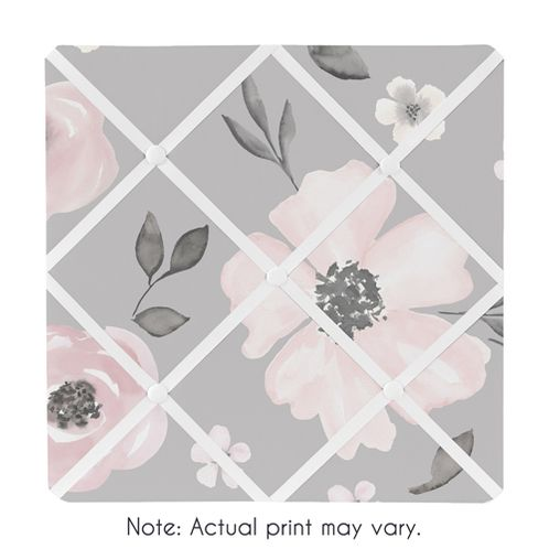 Grey Watercolor Floral Fabric Memory Memo Photo Bulletin Board by Sweet Jojo Designs - Blush Pink Gray and White Shabby Chic Rose Flower Farmhouse - Click to enlarge