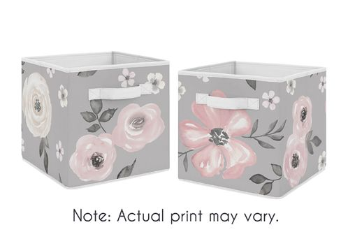 Grey Watercolor Floral Foldable Fabric Storage Cube Bins Boxes Organizer Toys Kids Baby Childrens by Sweet Jojo Designs - Set of 2 - Blush Pink Gray and White Shabby Chic Rose Flower Farmhouse - Click to enlarge