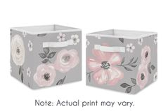 Grey Watercolor Floral Foldable Fabric Storage Cube Bins Boxes Organizer Toys Kids Baby Childrens by Sweet Jojo Designs - Set of 2 - Blush Pink Gray and White Shabby Chic Rose Flower Farmhouse