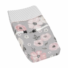 Grey Watercolor Floral Girl Baby Nursery Changing Pad Cover by Sweet Jojo Designs - Blush Pink Gray and White Shabby Chic Rose Flower Polka Dot Farmhouse