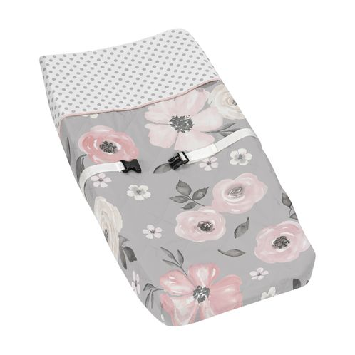 Grey Watercolor Floral Girl Baby Nursery Changing Pad Cover by Sweet Jojo Designs - Blush Pink Gray and White Shabby Chic Rose Flower Polka Dot Farmhouse - Click to enlarge