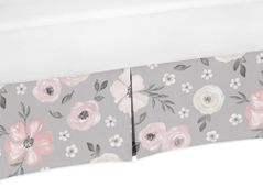 Grey Watercolor Floral Girl Baby Nursery Crib Bed Skirt Dust Ruffle by Sweet Jojo Designs - Blush Pink Gray and White Shabby Chic Rose Flower Farmhouse