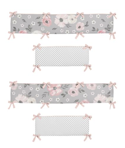 Grey Watercolor Floral Girl Baby Nursery Crib Bumper Pad by Sweet Jojo Designs - Blush Pink Gray and White Shabby Chic Rose Flower Polka Dot Farmhouse - Click to enlarge