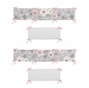 Grey Watercolor Floral Girl Baby Nursery Crib Bumper Pad by Sweet Jojo Designs - Blush Pink Gray and White Shabby Chic Rose Flower Polka Dot Farmhouse