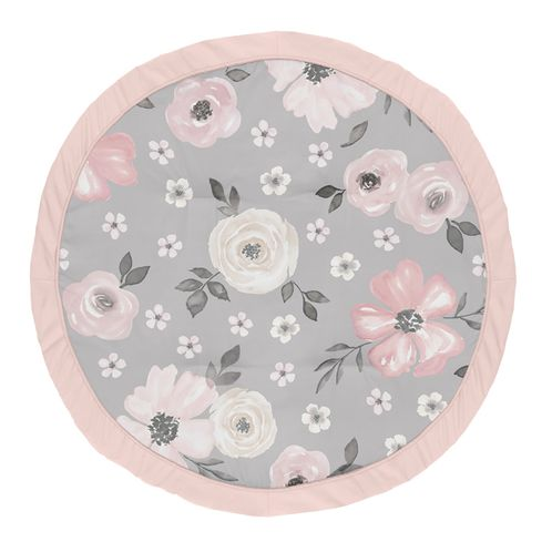 Grey Watercolor Floral Girl Baby Playmat Tummy Time Infant Play Mat by Sweet Jojo Designs - Blush Pink Gray and White Shabby Chic Rose Flower Farmhouse - Click to enlarge