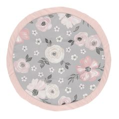 Grey Watercolor Floral Girl Baby Playmat Tummy Time Infant Play Mat by Sweet Jojo Designs - Blush Pink Gray and White Shabby Chic Rose Flower Farmhouse