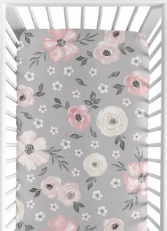 Grey Watercolor Floral Girl Fitted Crib Sheet Baby or Toddler Bed Nursery by Sweet Jojo Designs - Blush Pink Gray and White Shabby Chic Rose Flower Farmhouse