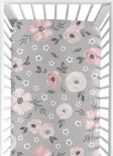 Grey Watercolor Floral Girl Fitted Crib Sheet Baby or Toddler Bed Nursery by Sweet Jojo Designs - Blush Pink Gray and White Shabby Chic Rose Flower Farmhouse - Click to enlarge