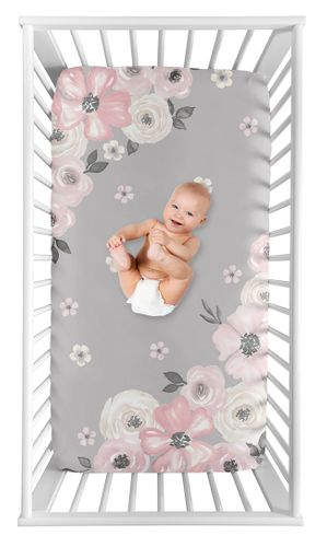 Grey Watercolor Floral Girl Fitted Crib Sheet Baby or Toddler Bed Nursery Photo Op by Sweet Jojo Designs - Blush Pink Gray and White Shabby Chic Rose Flower Farmhouse - Click to enlarge