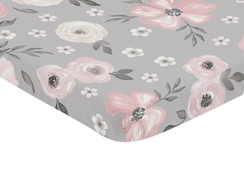 Grey Watercolor Floral Girl Fitted Mini Crib Sheet Baby Nursery by Sweet Jojo Designs For Portable Crib or Pack and Play - Blush Pink Gray and White Shabby Chic Rose Flower Farmhouse - Click to enlarge