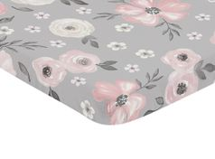 Grey Watercolor Floral Girl Fitted Mini Crib Sheet Baby Nursery by Sweet Jojo Designs For Portable Crib or Pack and Play - Blush Pink Gray and White Shabby Chic Rose Flower Farmhouse