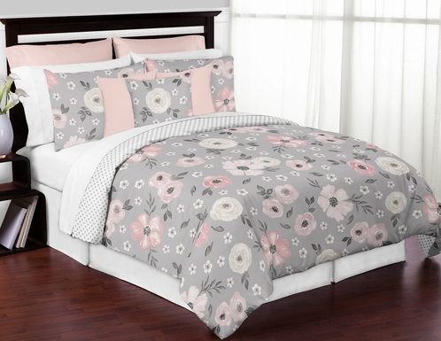 Grey Watercolor Floral Girl Full / Queen Bedding Comforter Set Kids Childrens Size by Sweet Jojo Designs - 3 pieces - Blush Pink Gray and White Shabby Chic Rose Flower Polka Dot Farmhouse - Click to enlarge