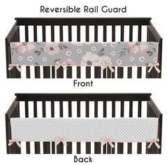 Grey Watercolor Floral Girl Long Front Crib Rail Guard Baby Teething Cover Protector Wrap by Sweet Jojo Designs - Blush Pink Gray and White Shabby Chic Rose Flower Polka Dot Farmhouse