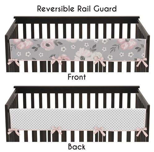 Grey Watercolor Floral Girl Long Front Crib Rail Guard Baby Teething Cover Protector Wrap by Sweet Jojo Designs - Blush Pink Gray and White Shabby Chic Rose Flower Polka Dot Farmhouse - Click to enlarge