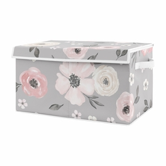 Grey Watercolor Floral Girl Small Fabric Toy Bin Storage Box Chest For Baby Nursery or Kids Room by Sweet Jojo Designs - Blush Pink Gray and White Shabby Chic Rose Flower Farmhouse