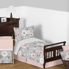 Grey Watercolor Floral Girl Toddler Kid Childrens Comforter Bedding Set by Sweet Jojo Designs - 5 pieces Comforter, Sham and Sheets - Blush Pink Gray and White Shabby Chic Rose Flower Polka Dot Farmhouse
