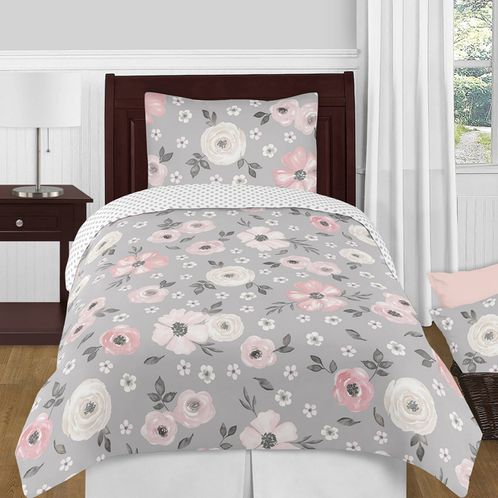 Grey Watercolor Floral Girl Twin Bedding Comforter Set Kids Childrens Size by Sweet Jojo Designs - 4 pieces - Blush Pink Gray and White Shabby Chic Rose Flower Polka Dot Farmhouse - Click to enlarge