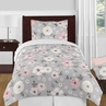 Grey Watercolor Floral Girl Twin Bedding Comforter Set Kids Childrens Size by Sweet Jojo Designs - 4 pieces - Blush Pink Gray and White Shabby Chic Rose Flower Polka Dot Farmhouse