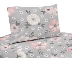 Grey Watercolor Floral Queen Sheet Set by Sweet Jojo Designs - 4 piece set - Blush Pink Gray and White Shabby Chic Rose Flower Farmhouse