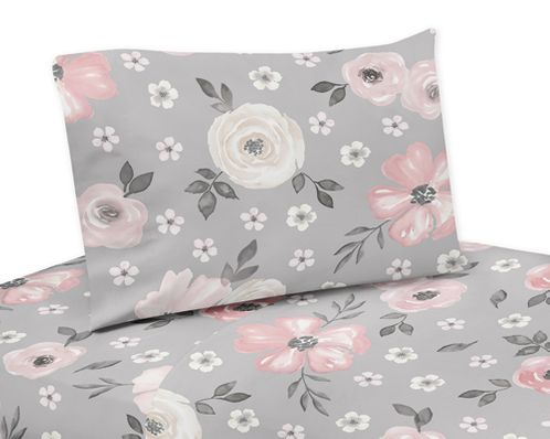 Grey Watercolor Floral Queen Sheet Set by Sweet Jojo Designs - 4 piece set - Blush Pink Gray and White Shabby Chic Rose Flower Farmhouse - Click to enlarge