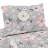 Grey Watercolor Floral Twin Sheet Set by Sweet Jojo Designs - 3 piece set - Blush Pink Gray and White Shabby Chic Rose Flower Farmhouse
