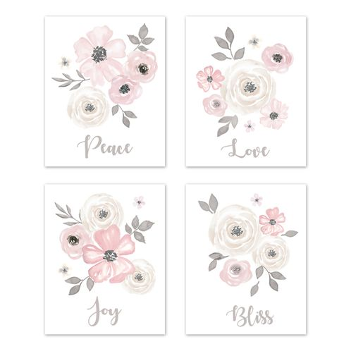 Grey Watercolor Floral Wall Art Prints Room Decor for Baby, Nursery, and Kids by Sweet Jojo Designs - Set of 4 - Blush Pink Gray and White Shabby Chic Rose Flower Farmhouse - Click to enlarge
