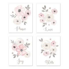 Grey Watercolor Floral Wall Art Prints Room Decor for Baby, Nursery, and Kids by Sweet Jojo Designs - Set of 4 - Blush Pink Gray and White Shabby Chic Rose Flower Farmhouse